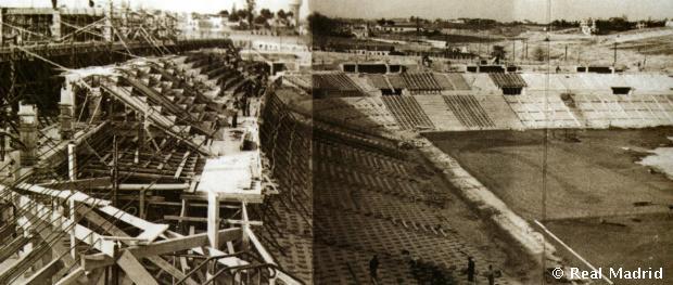 Az új Chamartín stadion lelátója az építkezések során